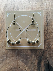 Antique Bronze Disk + Dainty Faceted Labradorite Hoop Earrings