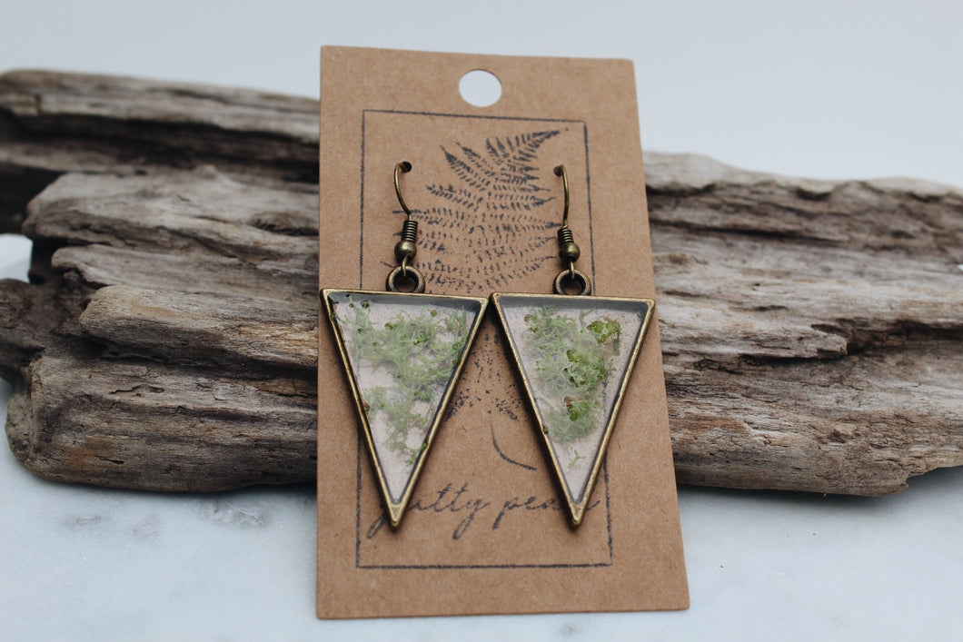 Moss Triangle Earrings