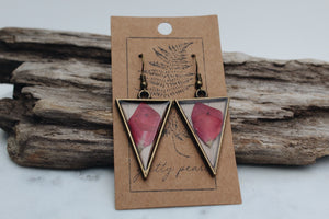 Pressed Floral Triangle Earrings