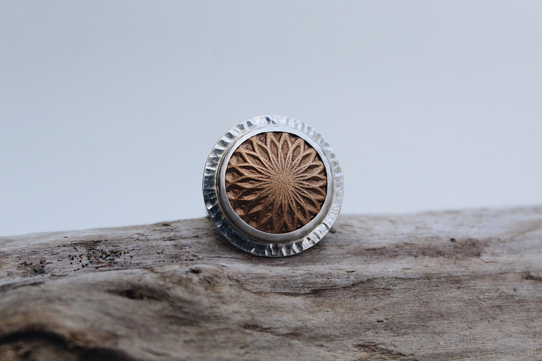 Sterling Silver Size 9 Bronze Mandala Ring