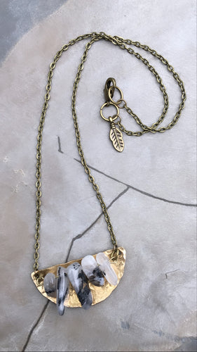 "16"" Hand-Cut + Hammered Brass Half Moon Plate with Rutilated Quartz Bar Necklace"