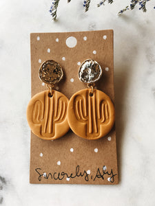 Clay Cactus Post Earrings