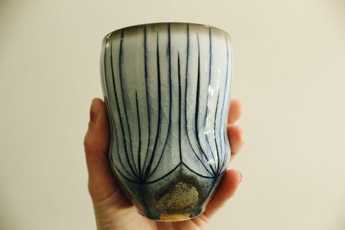 Blue Carved Soda Fired Cup
