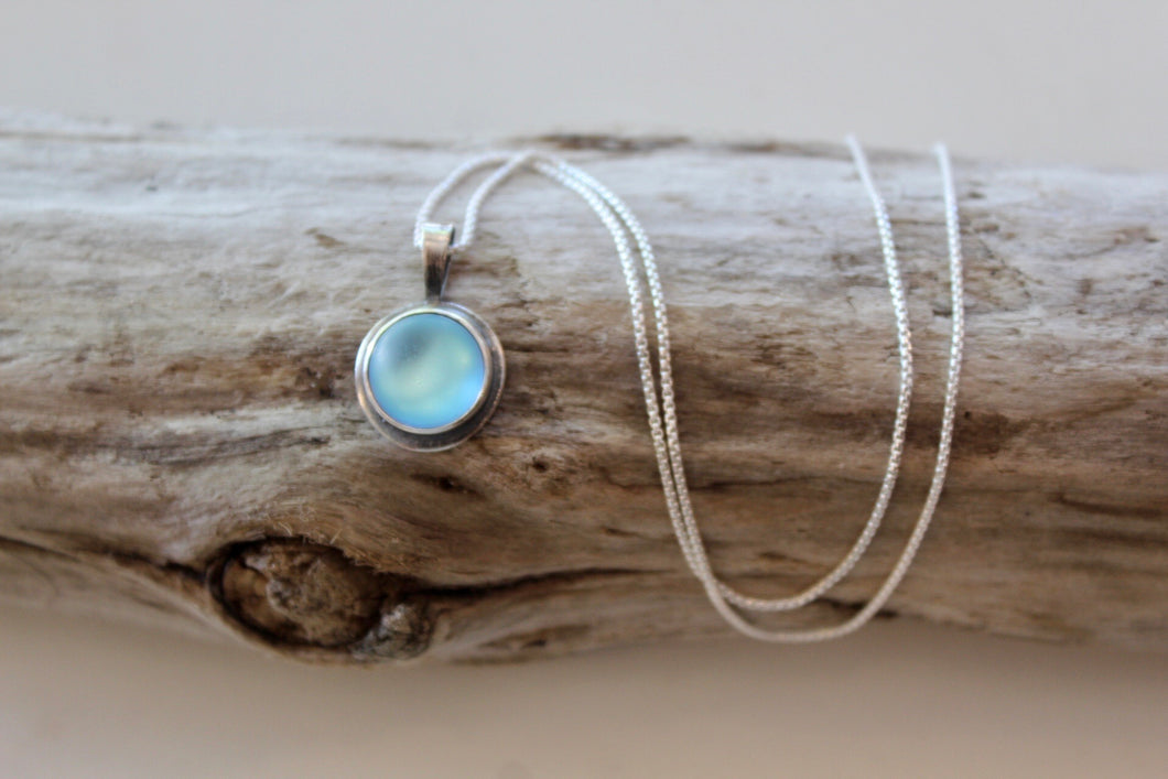 "Reversible 18"" Blackended Sterling Silver Opalite Necklace"