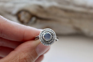 Size 6 Darkened Sterling Silver Faceted Chalcedony Ring