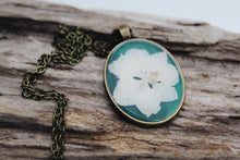 Load image into Gallery viewer, Oval Pressed Larkspur Necklace