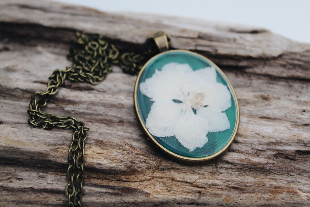 Oval Pressed Larkspur Necklace