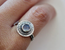 Load image into Gallery viewer, Size 6 Darkened Sterling Silver Faceted Chalcedony Ring