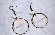 Load image into Gallery viewer, White, Blush + Gold Fleck Polymer Clay Earrings
