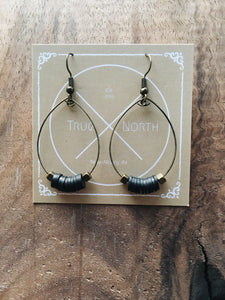 Black Rubber disks and antique Bronze cubes hoop earrings