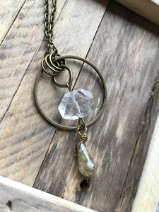 Faceted Quartz + Grossular Granite Necklace