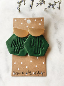 Brass half moon and Clay Cactus Post Earrings