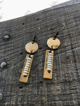 Load image into Gallery viewer, Hand-cut Brass + Dainty Howlite Earrings