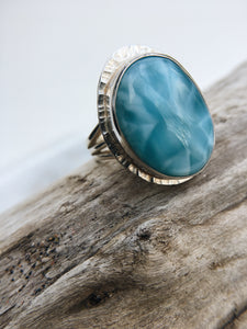 Sterling Silver Size 7.5 Larimar Ring