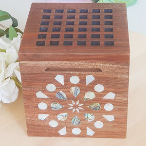 Wooden Incense Burner With Mother Of Pearl - www.alabalii.com
