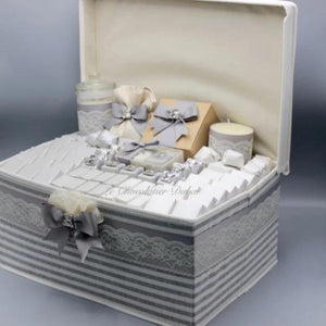 Big Gray Hamper With Silver Bear Theme by Le Chocolatier - www.alabalii.com