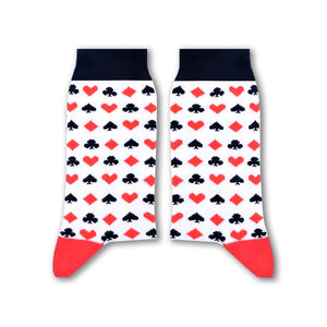 Cards Socks (White) - www.alabalii.com