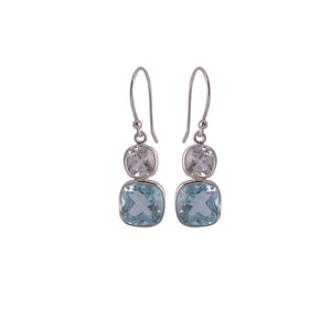 Blue and White Topaz Earrings Sterling Silver - www.alabalii.com