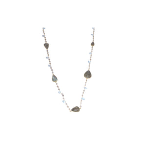 Carved Labradorite and Blue Topaz Lariat Sterling Silver - www.alabalii.com