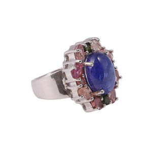 Blue Onyx and Tourmaline Cluster Prong Set Ring Sterling Silver - www.alabalii.com