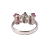 Rough Three Baguette Pink & Green Tourmaline Ring Sterling Silver - www.alabalii.com