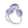 Carved Amethyst and Pearl Prong Set Ring Sterling Silver - www.alabalii.com