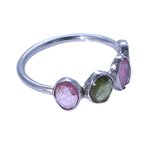 Pink, Yellow and Green Tourmaline Bezel Set Ring Sterling Silver - www.alabalii.com