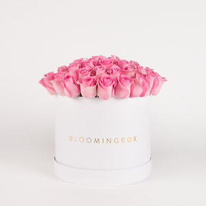 Large White Box Pink Roses By Bloomingbox - www.alabalii.com