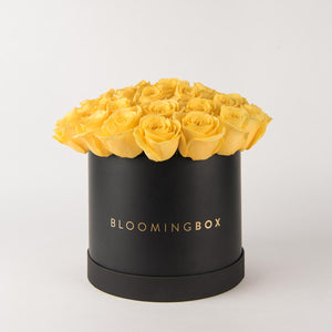 Large Black Box Yellow Roses By Bloomingbox - www.alabalii.com