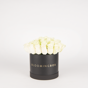 Medium Black  Box White Roses By Bloomingbox - www.alabalii.com