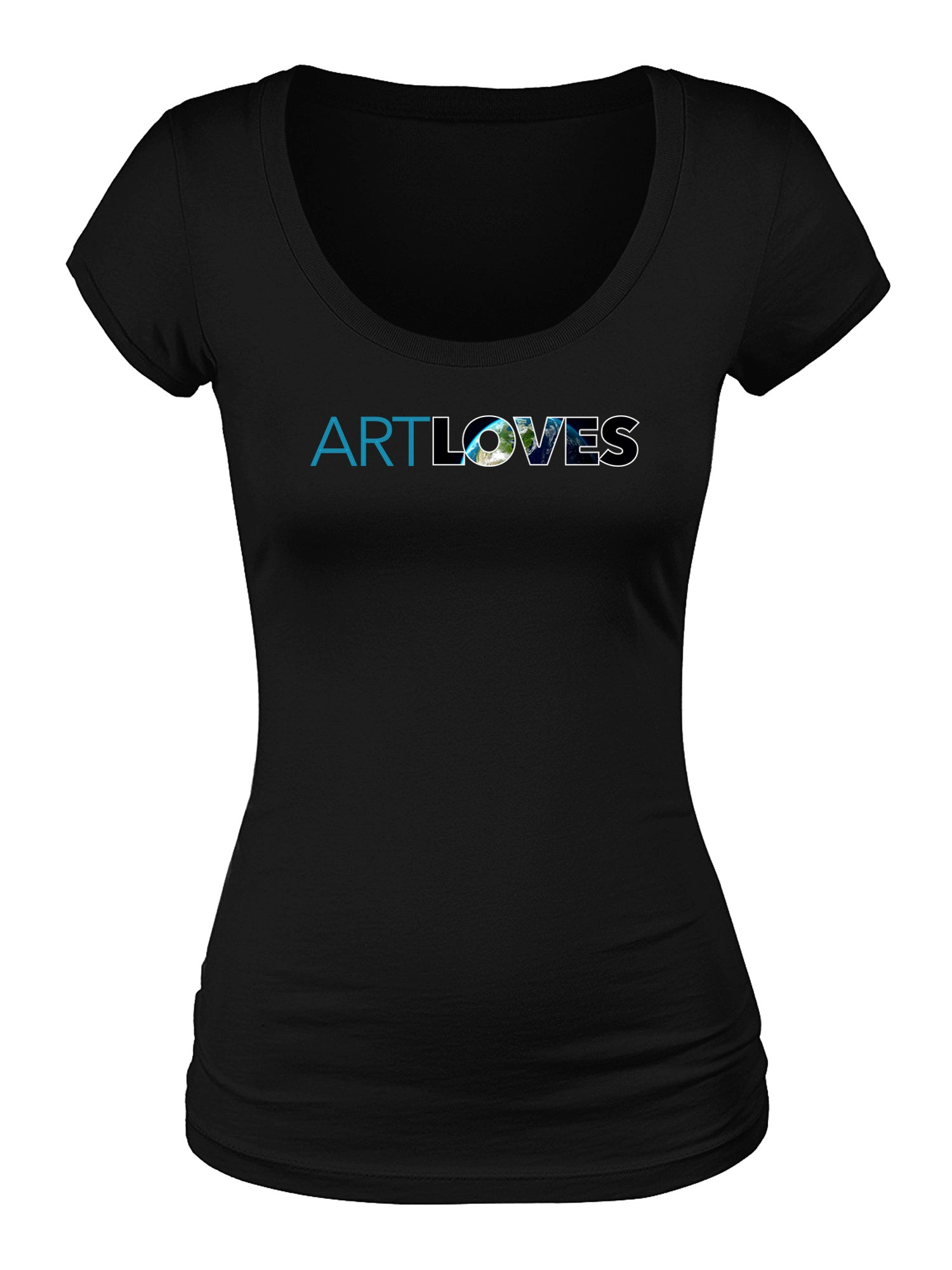 Art Loves Earth Women's Scoop Neck Logo Tee (Black)