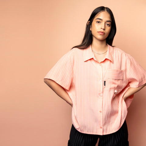 PEACH STRIPE RE-WORK SHIRT