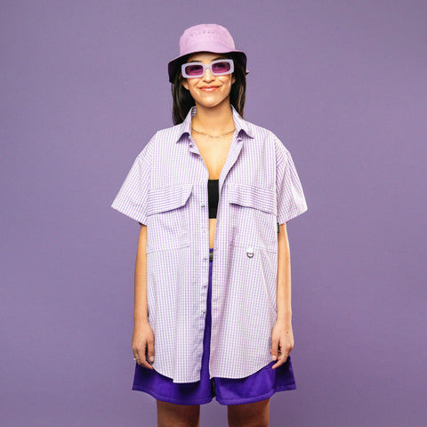 LILAC GINGHAM RE-WORK SHIRT