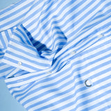 BLUE THICK STRIPE RE- WORK SHIRT