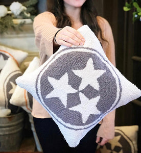 Grey/White wool Tri-Star pillow