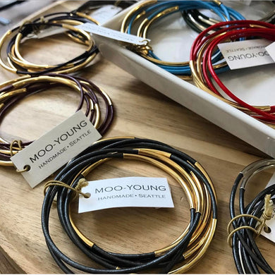 Skinny Leather BANGLES - gold