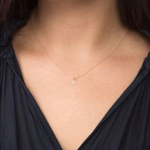 "Load image into Gallery viewer, eNewton Design 16"" necklace 14kt gold : believe signature cross"