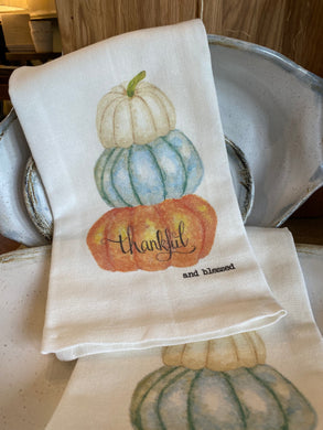 Thankful and Blessed - tea towel