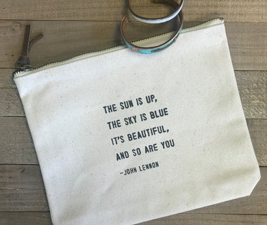 Canvas Zip Bags - choose from various quotes