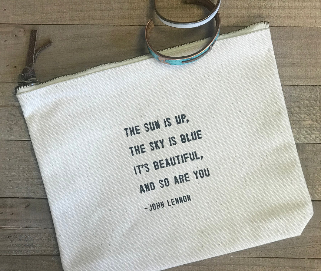 Canvas Zip Pouch - choose from various quotes