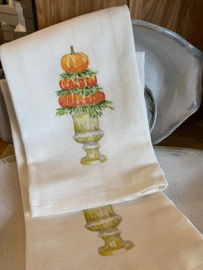 Pumpkin topiary - tea towel