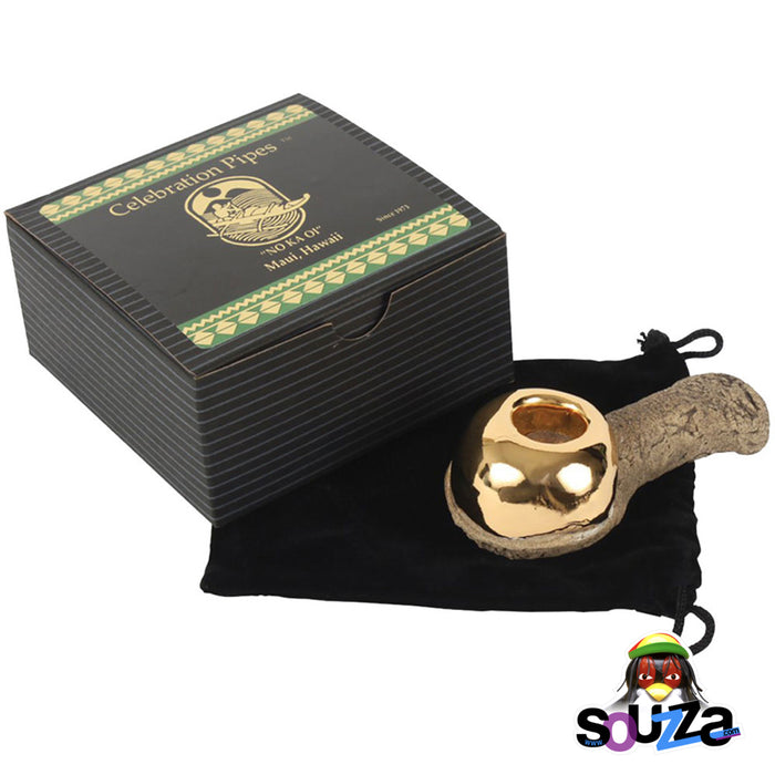 22 Karat Gold Celebration Pipe Made from Lava Stone - Packaging and felt bag with a certification