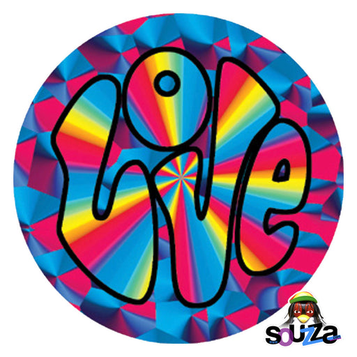 "3"" Round Psychedelic Multi-colored  Love Sticker"
