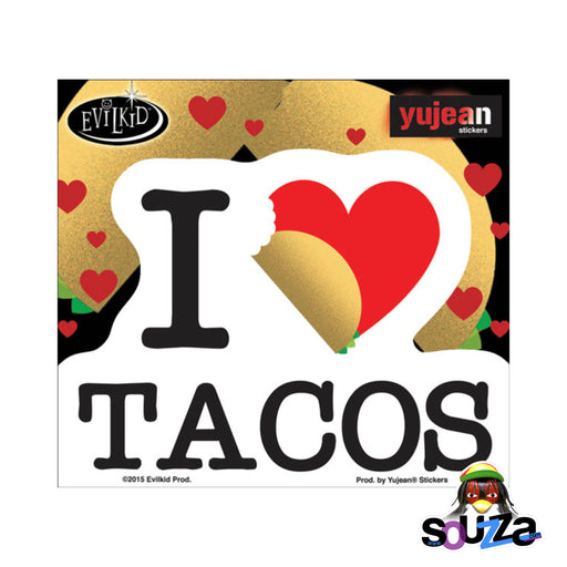 "4.5""x3.5"" I Heart Taco's by Evil Kid Sticker"