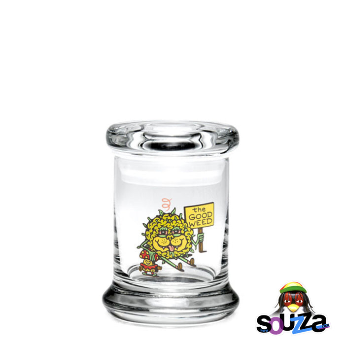'The Good Weed' Pop Top Glass Jar with a rubber gasket by 420 Science Size Extra Small