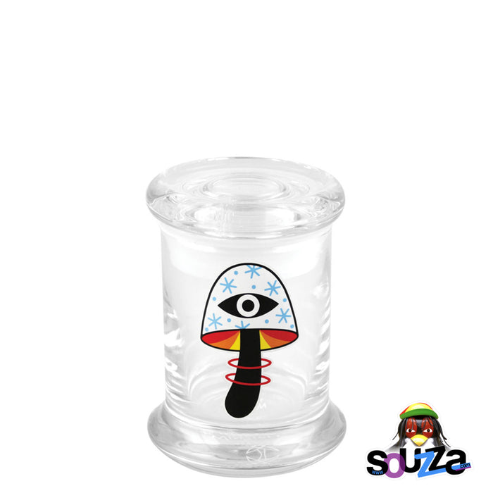 "420 Science ""Shroom Vision"" design Glass Pop-Top Stash Jar Size Extra Small"