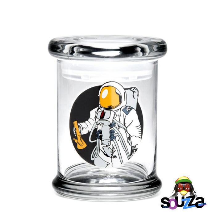 "420 Science ""Spaceman"" design Glass Pop-Top Stash Jar Size Medium"