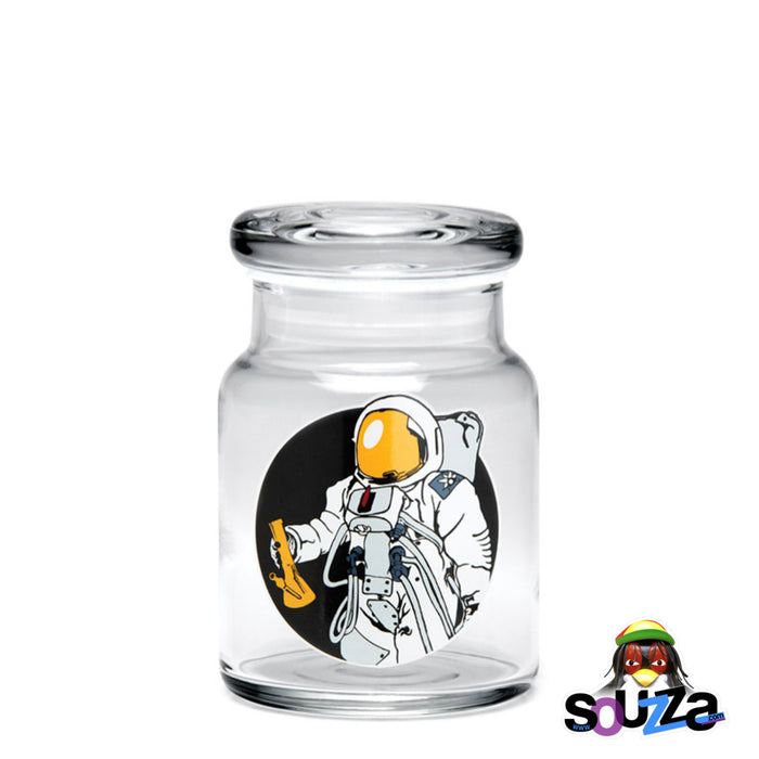 "420 Science ""Spaceman"" design Glass Pop-Top Stash Jar Size Small"