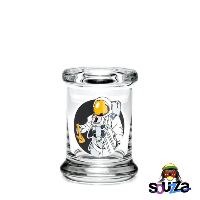 "420 Science ""Spaceman"" design Glass Pop-Top Stash Jar Size Extra Small"
