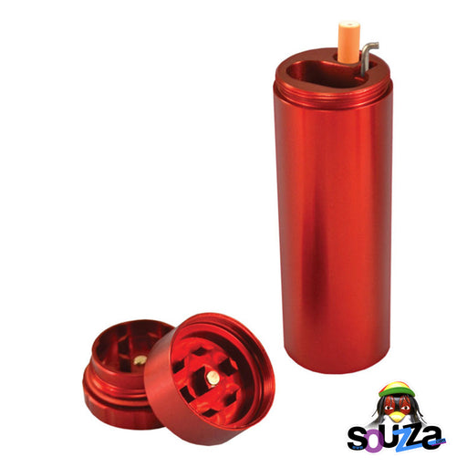 All In 1 Metal Smoke Stopper w/Poker & Grinder - Red